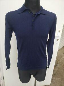 Pierre Balmain Sweater Long Sleeve Polo Wool Navy Size  32/46 Medium