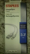 Staples 3.3' Lightning to USB Charge/Sync Cable Cord Iphone Ipad Ipod - White
