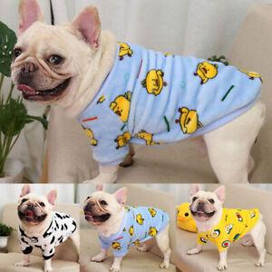 Dog Cute Print Flannel Hoodie Coat Winter Pet Clothes French Bulldog Sweatshirt