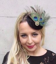Black Green Peacock Feather Pillbox Hat Fascinator Hair Clip Races Vintage 3365
