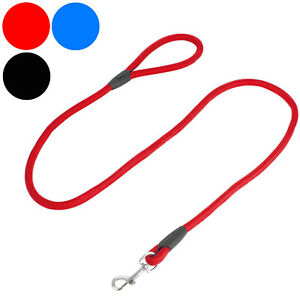 Dog Rope Lead Strong Pet Leash with Clip for Collar and Harness Red Blue Black