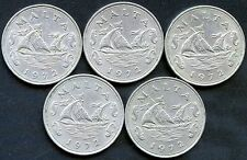 5 of 1972 Malta 10 Cent Coins