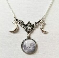 'The Luna' Triple Moon Wicca Pagan Necklace Halloween