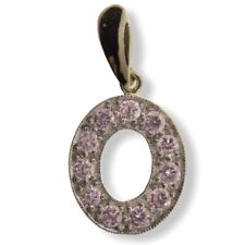 Pink CZ Letter O Pendant - 9ct Yellow Gold - 20x17mm