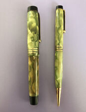 Vintage Parker Duofold multi color marble fountain pen and pencil set