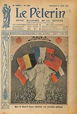 Portrait Christ Sacré Coeur de Jesus Drapeau des Alliées UK 1915 ILLUSTRATION