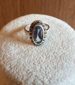 Vintage 925 Sterling Silver Blue Topaz & Marcasite Cocktail Ring Size Q