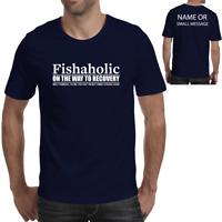 Fishaholic Mens Funny Fishing T Shirt Angler Carp Sea Fly Gift for Dad Granddad