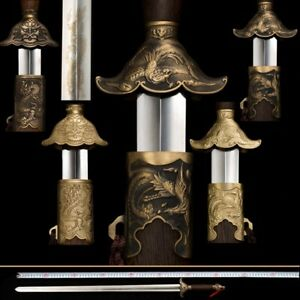 Dragon Phoenix TaiChi Sword Stainless Steel Ridged Blade Brass/Retro Fittings011