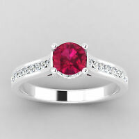 Round Cut 0.66 Ct Natural Diamond Real Ruby Ring 14K White Gold Size H K P O