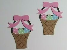 2 Easter baskets with eggs diecut scrapbooking greeting card diecuts No Metal