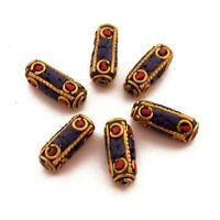 Coral Lapis Brass 6 Beads Tibetan Nepalese Ethnic Handmade From Nepal UB68