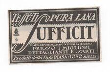 Pubblicità vintage TESSUTI SUFFICIT BIELLA MODA advert reklame werbung publicitè