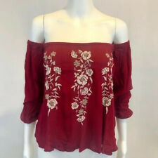 Women's Abercrombie and Fitch Red Off the Shoulder Long Sleeve Shirt - XSmall