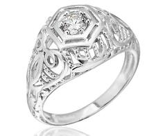 925 Sterling Silver CZ Engagement Edwardian Era Inspired Ring Size 6