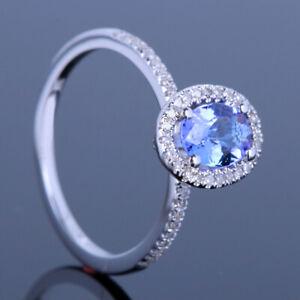 Solid 14K White Gold Diamond Oval Cut Tanzanite Prong Setting Wedding Fine Ring