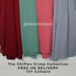 Chiffon Crimp Scarf Hijab High Quality Head Scarf Shawl 20+ Colours