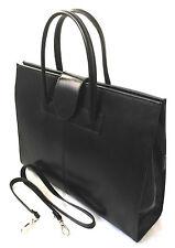 Chicca Borse borsa cartella a mano e tracolla porta documenti in pelle nero 9025