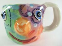 Hand Made Studio Art Ceramic Thrown Pottery Ugly Face Mug Signed by Artist 2001