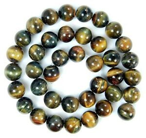 Natural 10mm Blue Yellow Tiger's Eye Stone Round Loose Beads 15'' PL93