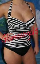 New Victorias Secret Forever Sexy Push Up Halter Retro Zebra Tankini Sz 34B