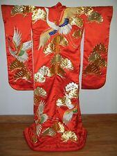 Striking Red Japanese Uchikake Wedding Kimono Embroidered w/ Cranes & Pine