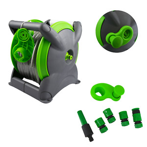 15M Garden Patio Hose Pipe Reel Set Fitting, Freestanding, Wall Mounted Hosepipe