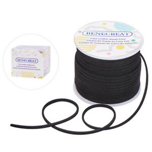 1Roll Lace Faux Leather Suede Beading Cords Velvet String Thread Black 30m/roll