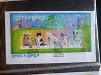 2004 AUSTRALIA CATS & DOGS 5 STAMP MINI SHEET FDC FIRST DAY COVER