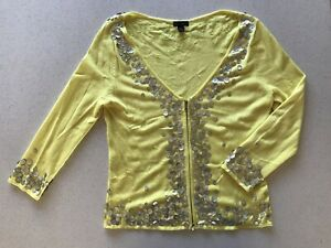 Harry WHO Button Embellished Zipper Cardigan Yellow Size Large