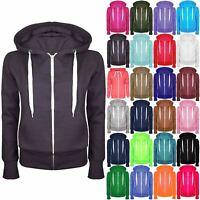 Plus Size Ladies Plain Hoody Girls Zip Womens Hoodies Sweatshirt Jacket Top