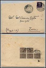 REGNO-FERMO POSTA-Busta S.Ilario Ionio x Locri 22.11.1938-Tassata in arrivo 25c
