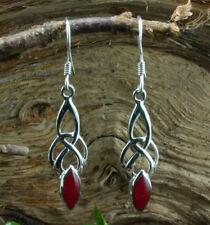 Silber 925, Keltischer Ohrschmuck mit Karneol rot, mittel, Ohrhänger, Ohrringe