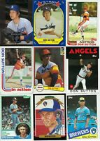DON SUTTON BASEBALL CARD LOT - LOS ANGELES DODGERS - HALL of FAMER - AUTOGRAPH
