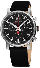 Mondaine Men's Evo Big Leather Strap Chronograph Quartz Watch A6903030414SBB
