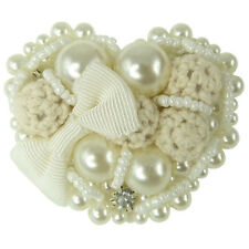 Broche Blanche mariage blanc Ivoire Coeur Perles Imitation Culture Tricot Noeud