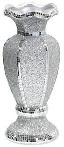 Extra Large 40cm Crushed Glass Silver Glitter Flower Vase With Mosaic Strips