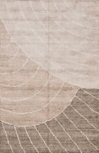 Contemporary Abstract Geometric Oriental Area Rug Wool/ Silk Hand-Knotted 4x6 ft