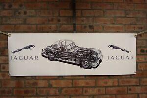 jaguar xk150 fixed head coupe large pvc heavy duty WORK SHOP BANNER garage
