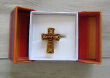 Gems En Vogue Baltic Amber & Almandine Garnet Cross 18K GoldRing Size 8 NIB