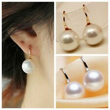 Ladies Elegant Gold/Silver Round Freshwater Pearl Drop Dangle Earrings Women Hot