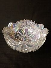 Stunning White Carnival Glass LE Smith COMET IN THE STARS Pinwheel Bowl