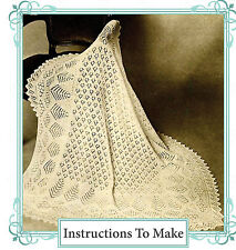 Vintage knitting pattern-make a baby shetland lace heirloom christening shawl