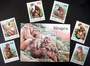 1998 MNH GUINEA MONKEY STAMPS SOUVENIR SHEET & SET WILD ANIMALS PRIMATE MONKEY