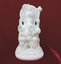 """12"""" Marble Statue Lord Ganesh Handmade Art Home Handcarved Gifts Decor H3783"""