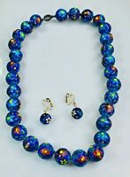 Rare Blue Enamel Cloisonne Large Flower Beads Knotted Necklace and Earrings