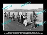 OLD LARGE HISTORIC PHOTO OF KOREAN WAR, THE AUSTRALIAN 3rd BATTALION c1950