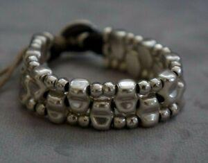 "NWT Uno De 50 Silver 0.75"" Thick Reversible Lusala Statement Bracelet 7"" RP $200"