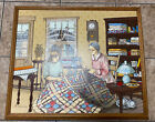 H. HARGROVE Framed Family Quilting Scene Signed Oil On Canvas 21 x 24