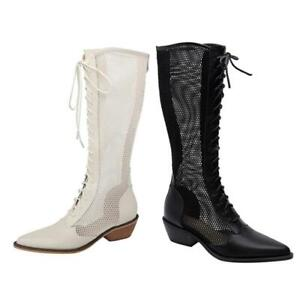 41 42 43 Summer Women's Pointy Toe Mesh Breathable Block Heel Knee High Boots L